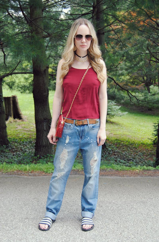 GypsyWarriorBoyfriendJeans_BlackAdidasSandals_RedSilkCamiTank