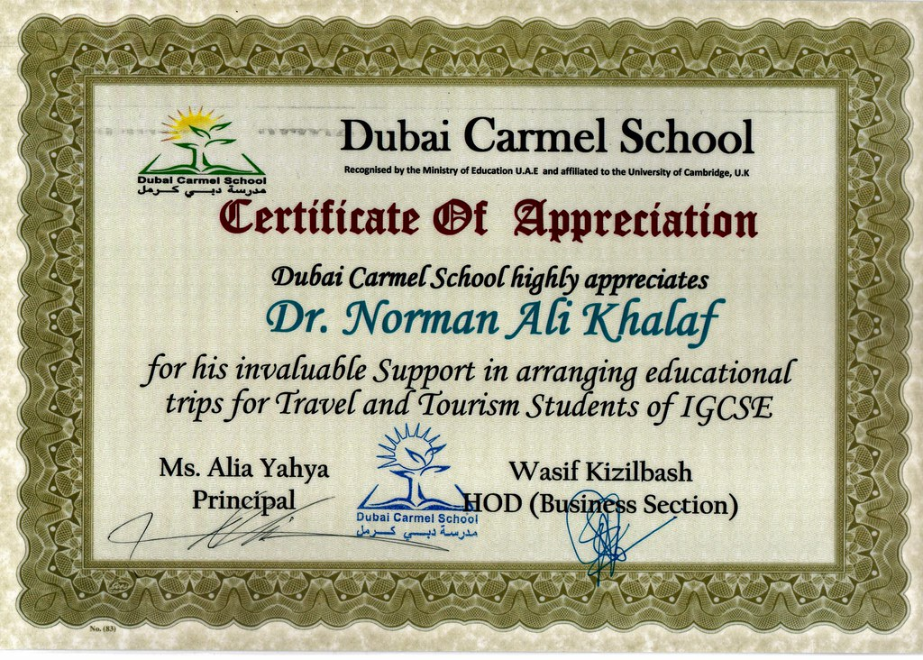 Certificate of Appreciation from Dubai Carmel School to Dr ...