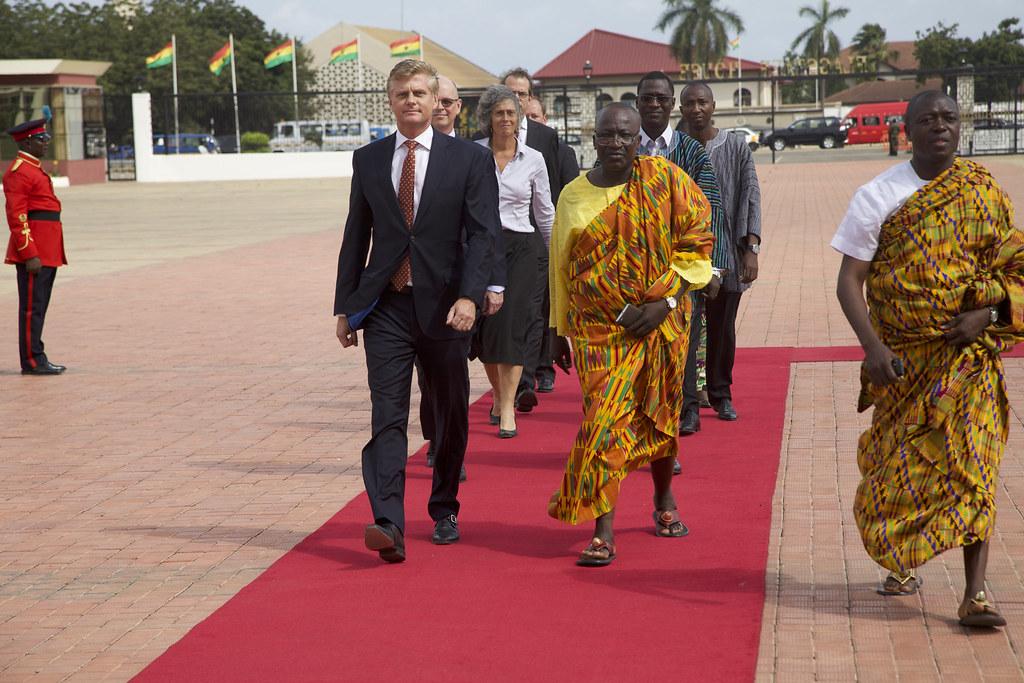 The Dutch Ambassador To Ghana Being Ushered Into Flagstaff