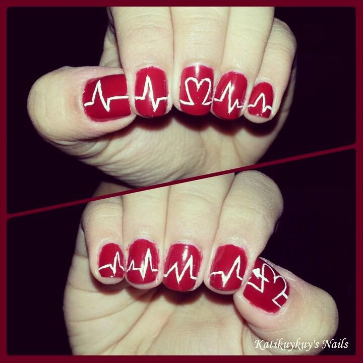 Heart Beat Nail Art Design | A nail art design for the Valen… | Flickr