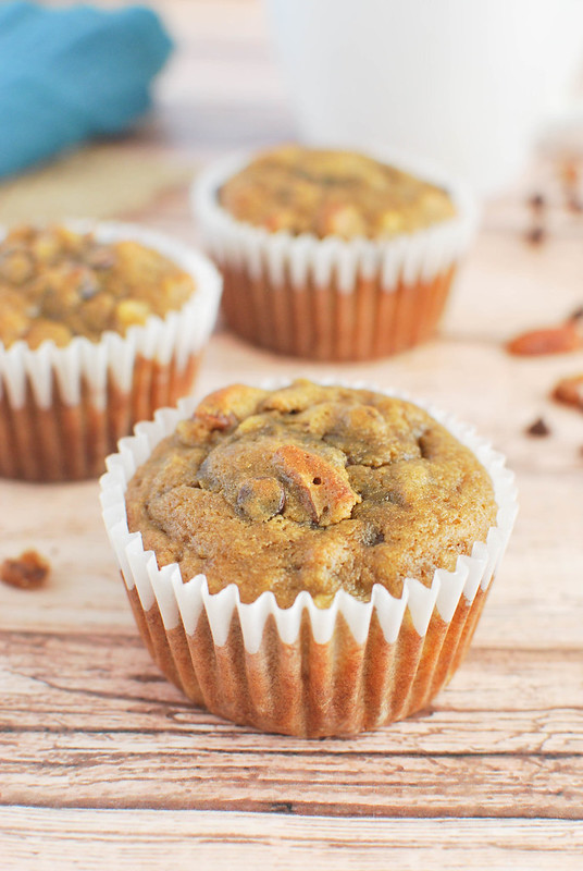 Paleo Banana Muffins - a healthier way to do banana muffins! Add pecans and chocolate chips to make them extra delicious! These aren't eggy like typical paleo muffins.