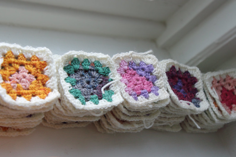 Granny squares for sock yarn blanket in progress on my visit to Malmö, 2015