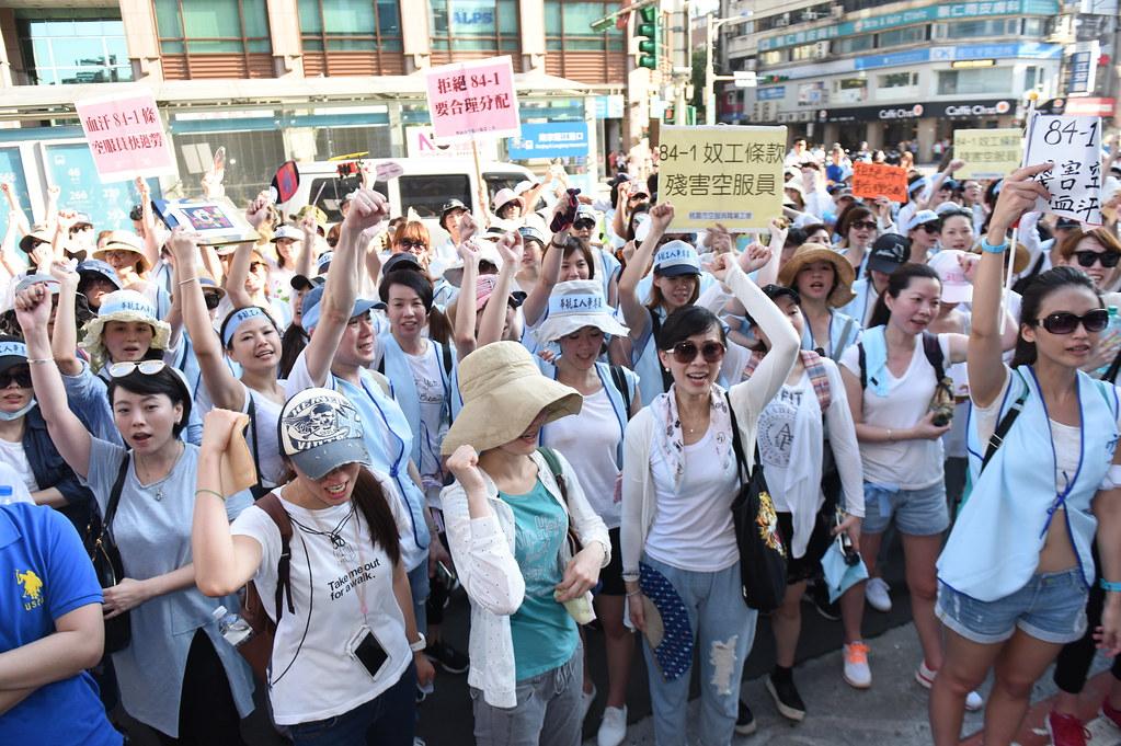 華航若未解決爭議,勞工預告將發起罷工行動。(攝影:宋小海)