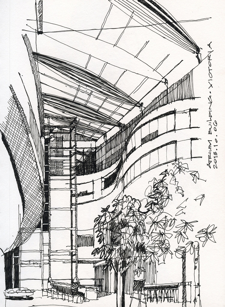interior architectural sketches atrium building interior