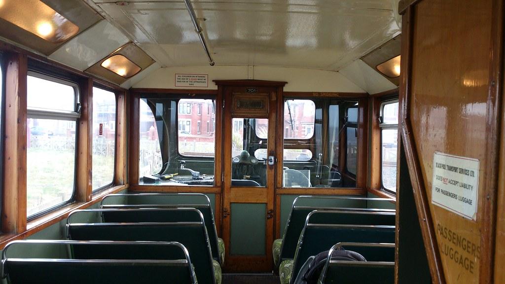 Inside Blackpool Transport Balloon Tram 701 Lower Saloon