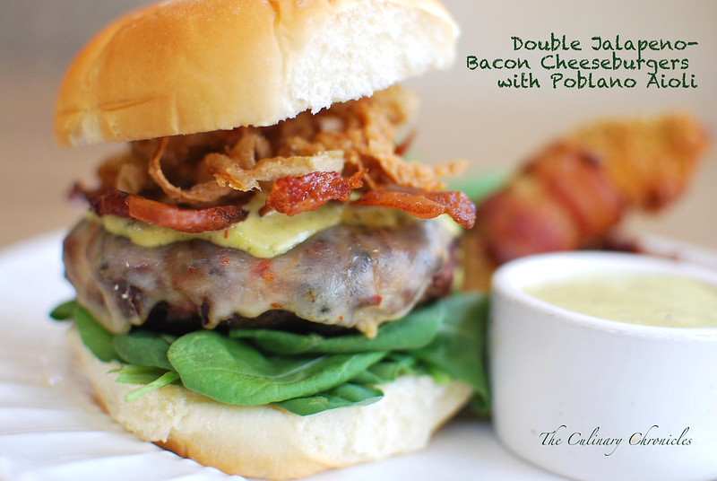 Double Jalapeno-Bacon Cheeseburgers with Roasted Poblano Aioli