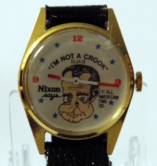 "Richard Nixon Watchmen: Vintage Richard Nixon Novelty Watch, ""I'm Not A Crook"