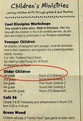 a page from the church worship bulletin showing the children's info