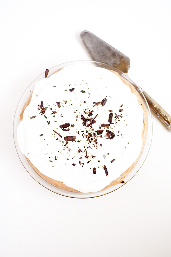 this pie is for the serious chocolate lover | brownie bottom french silk pie