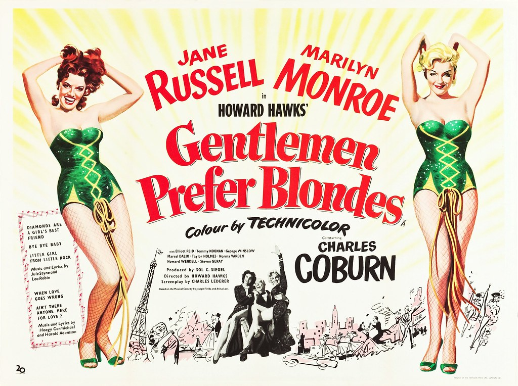 Gentlemen Prefer Blondes 1953 British Quad