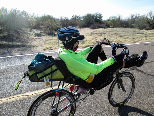 Susan riding along, Arivaca-Sasabe Rd