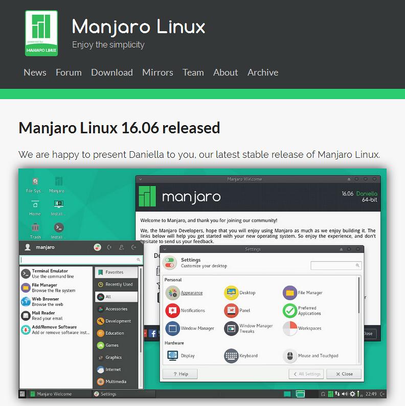 Официальный сайт Manjaro