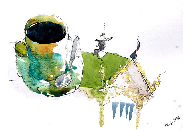 An ink and watercolor sketch of a mug of tea and a temple