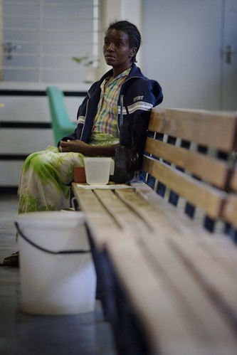 A woman waits to be tested at a cholera treatment centre in the Budiriro District, that was badly affected by cholera, in Harare, Zimbabwe