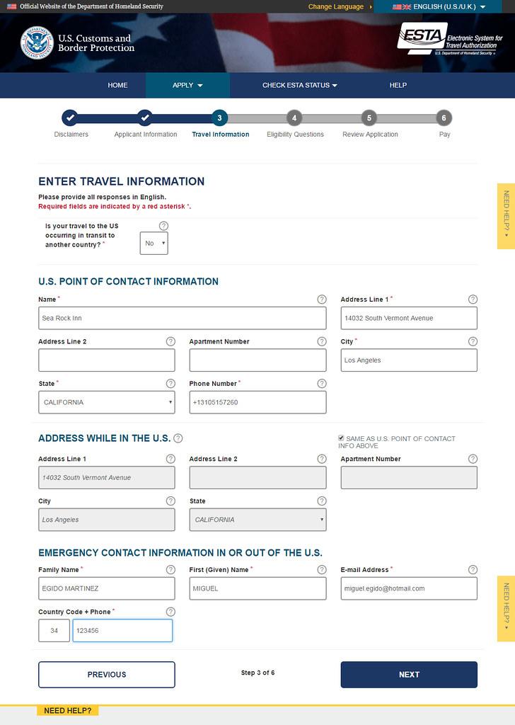 Información que hay que cumplimentar en un formulario para obtener el visado ESTA de Estados Unidos