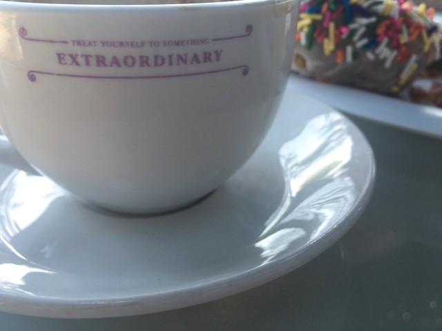 Kyra's Bake Shop cup with 'Treat Yourself to Something Extraordinary' on it, Lake Oswego, Oregon