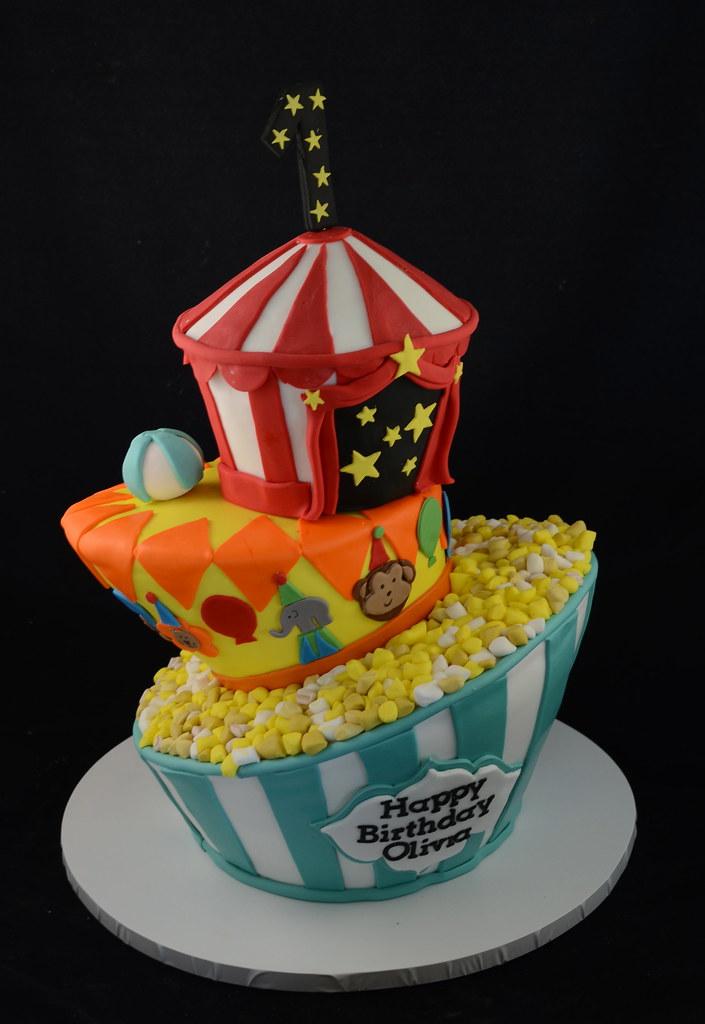 Cake Art Mud Cake Mix : Circus topsy turvy cake Chocolate mud cake and rice ...