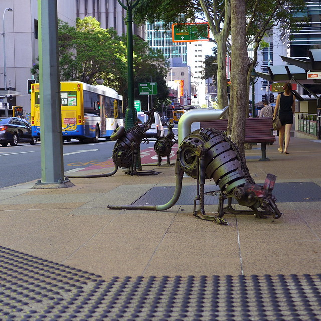 City roos, a scrap-metal sculpture by Christopher Trotter
