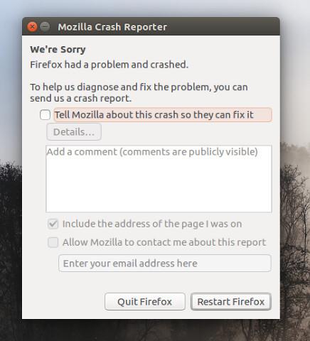 Firefox падает в Ubuntu 16.04 LTS