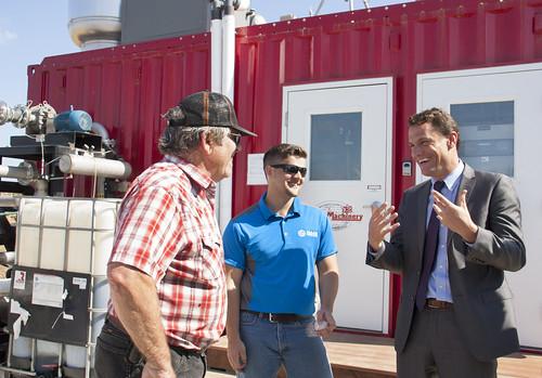 Dairyman Case Van Steyn, Nathan Nisly of Maas Energy, and RBS Administrator Sam Rikkers