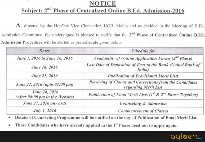 Gour Banga University B.Ed Admission 2016