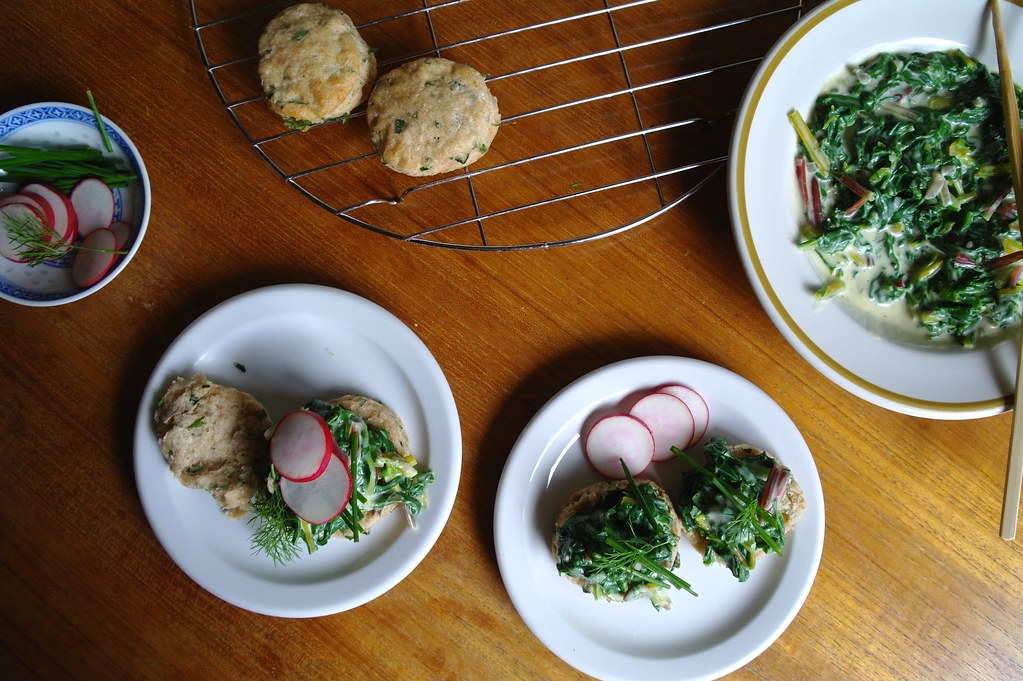 biscuits and creamed swiss chard