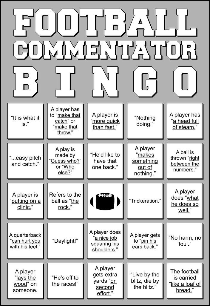 Football Commentator Bingo Card Also Doubles As A