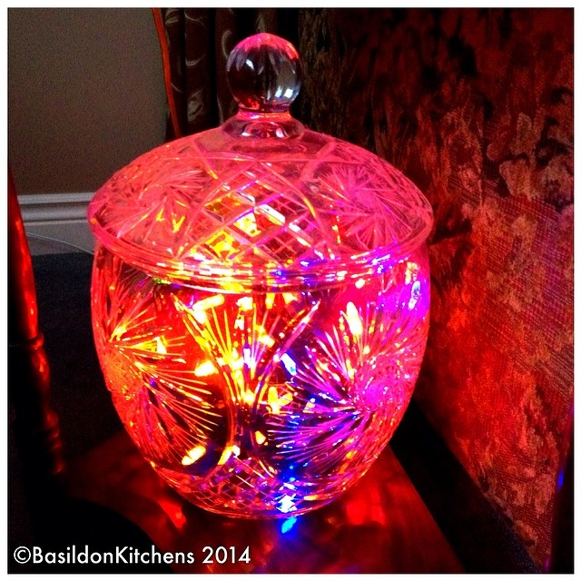 26/2/2014 - repurposed {an old crystal punch bowl makes a great light} #photoaday #repurposed #light #fun