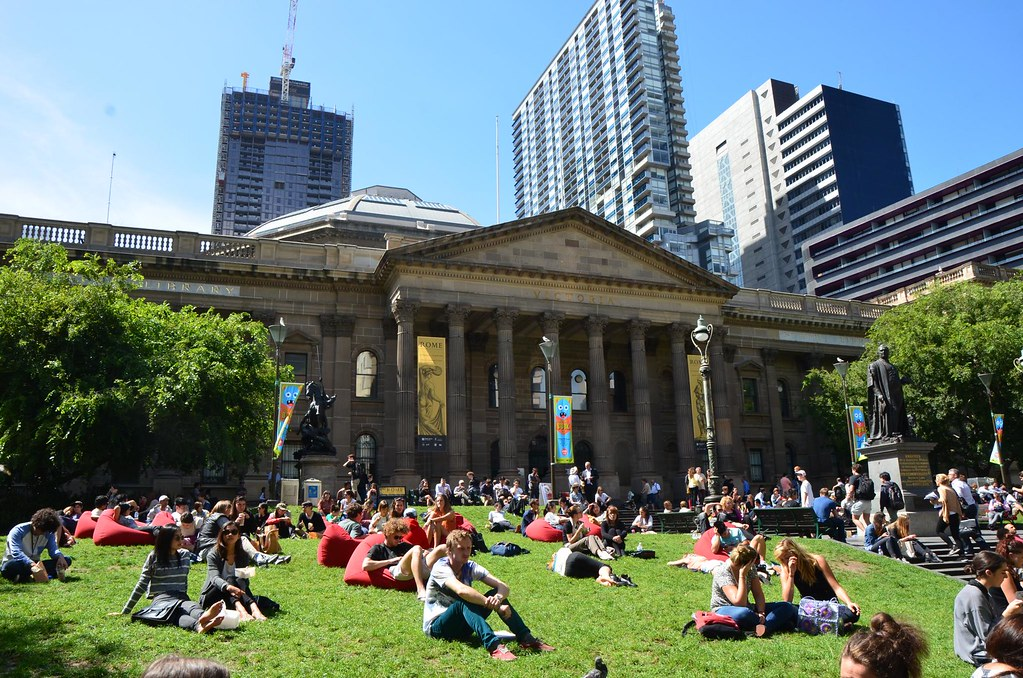 Red Bean Bags On The Lawn At The State Library Of Victoria