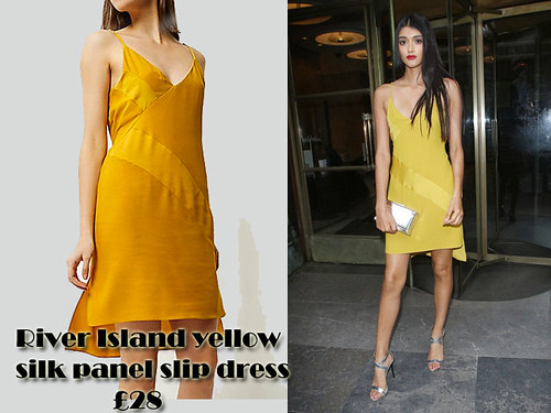 River-Island-yellow-silk-panel-slip-dress,River Island yellow silk panel slip dress, Mustard yellow silk panel slip dress, River Island yellow silk panel slip dress, metallic silver sandals, slinky slip dress, metallic clutch, box clutch, slip dress trend,