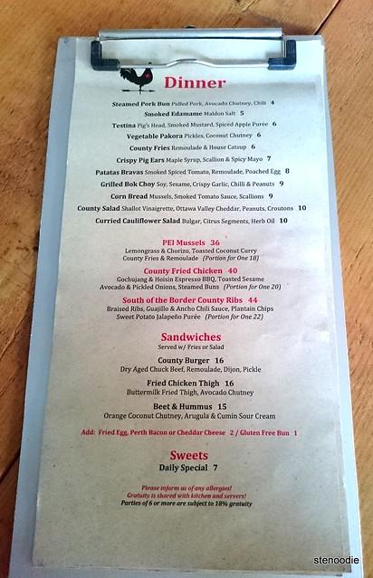 County General dinner menu