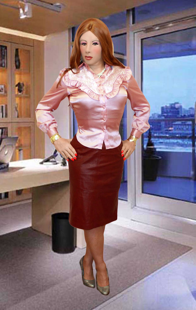 Kathy Leigh Pink Satin Blouse With Mauve Leather Skirt -8018