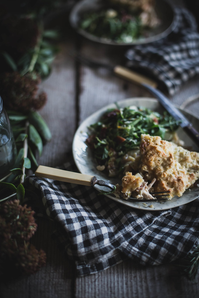 Chicken, Fennel, & Celery Root Cobbler with a Rosemary Cheese Biscuit Crust; Beth Kirby for Home & Hill Magazine