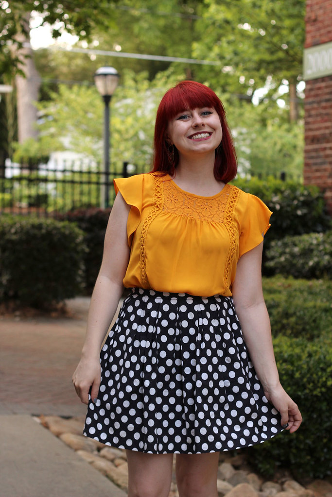 Petite Summer Outfit Yellow Flutter Sleeve Blouse Polka Dot Skirt