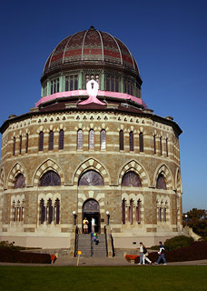 "In 2006, the Nott Memorial became an even more striking presence when a group of sorority sisters helped ""Tie the Nott"" with an enormous pink ribbon to raise money for breast cancer awareness and research. 