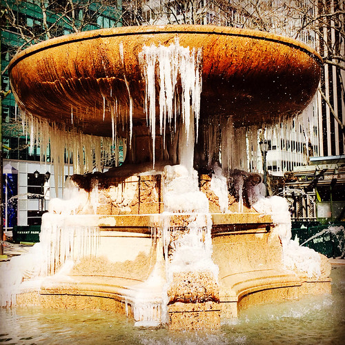 The Josephine Shaw Lowell Memorial Fountain all frozen