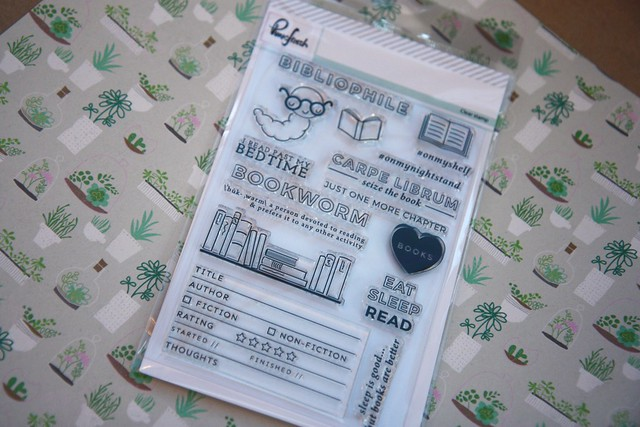 Book-themed stamps and terrarium paper - PinkFresh Bibliophile stamps