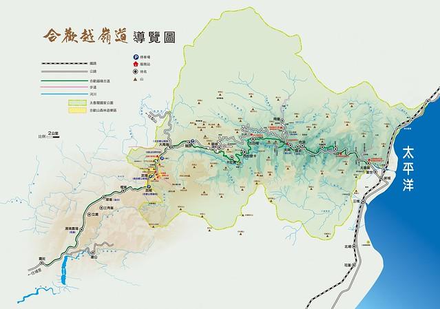 合歡越嶺地圖。圖片來源:林務局提供