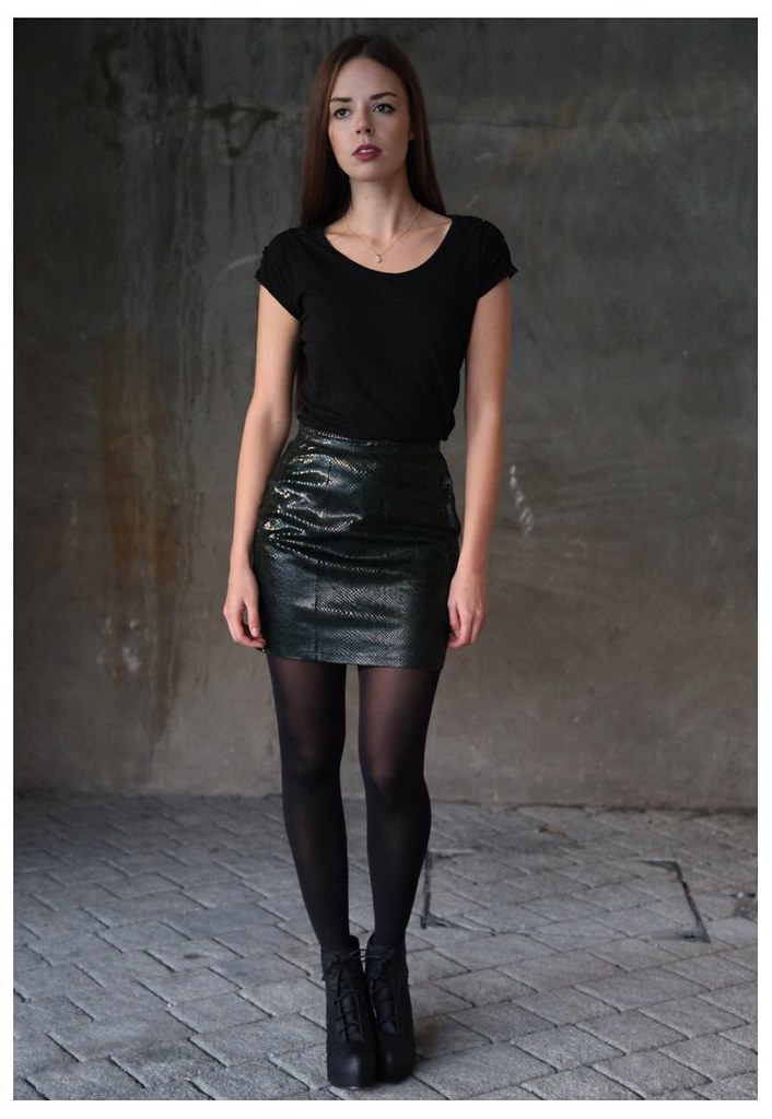 Black shirt & shiny leather skirt | ejt1977 | Flickr