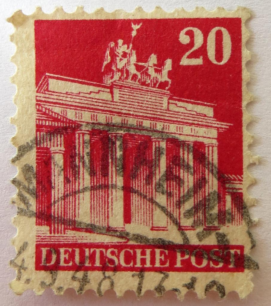 german stamp deutsche post 20 pfennig brandenburger to flickr. Black Bedroom Furniture Sets. Home Design Ideas