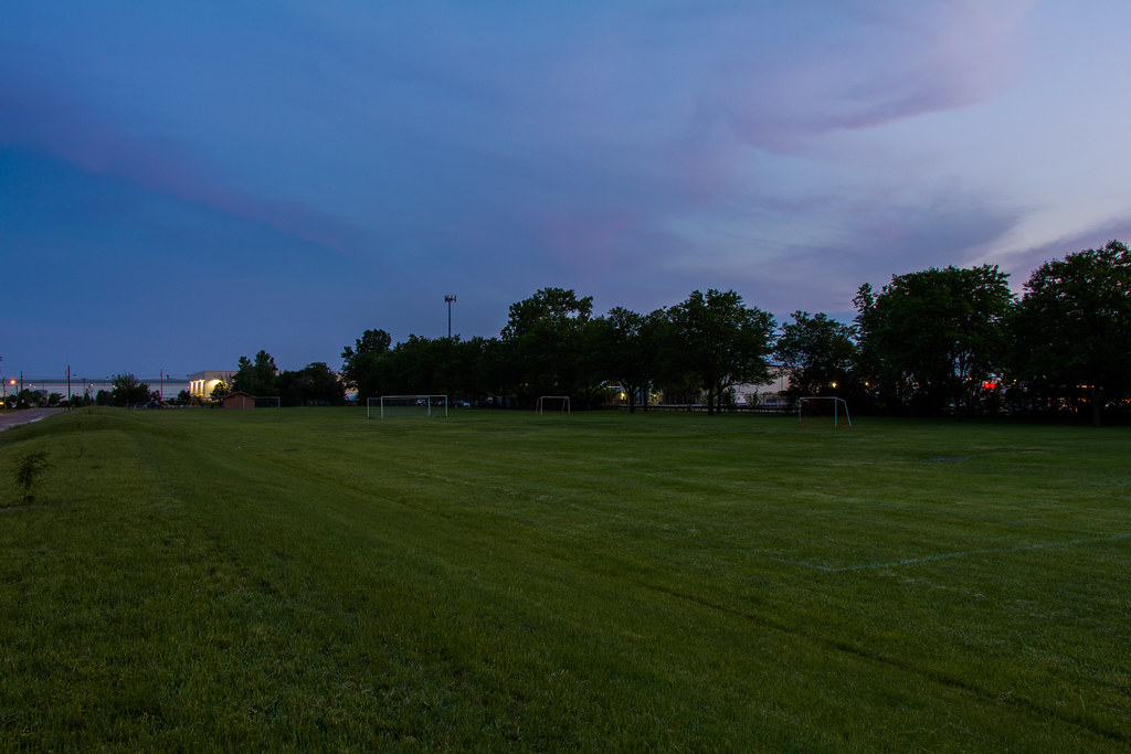 Empty Soccer Field Night an Empty Soccer Field at Night