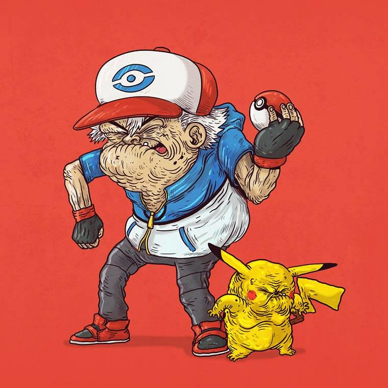 Famous Oldies by Alex Solis - Pokémon Ash and Pikachu