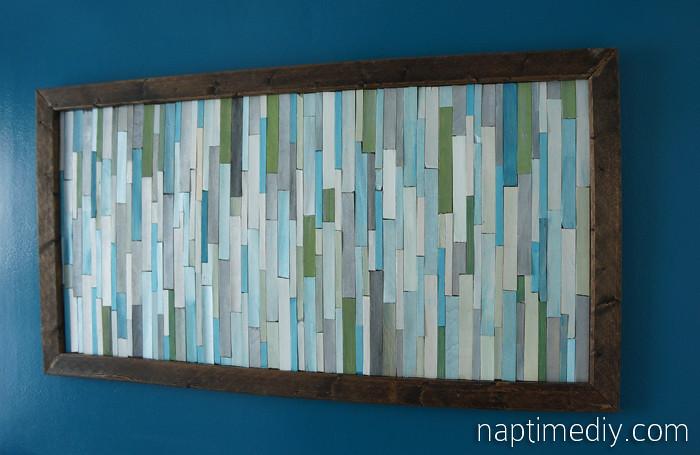 wood stick wall art 12 DIY Modern Wood Art Ashley Flickr