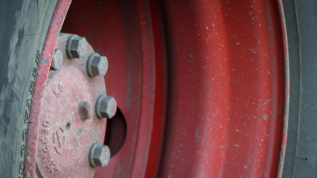 """Innie Red Wheel   An """"innie"""" rear left wheel on a big ..."""