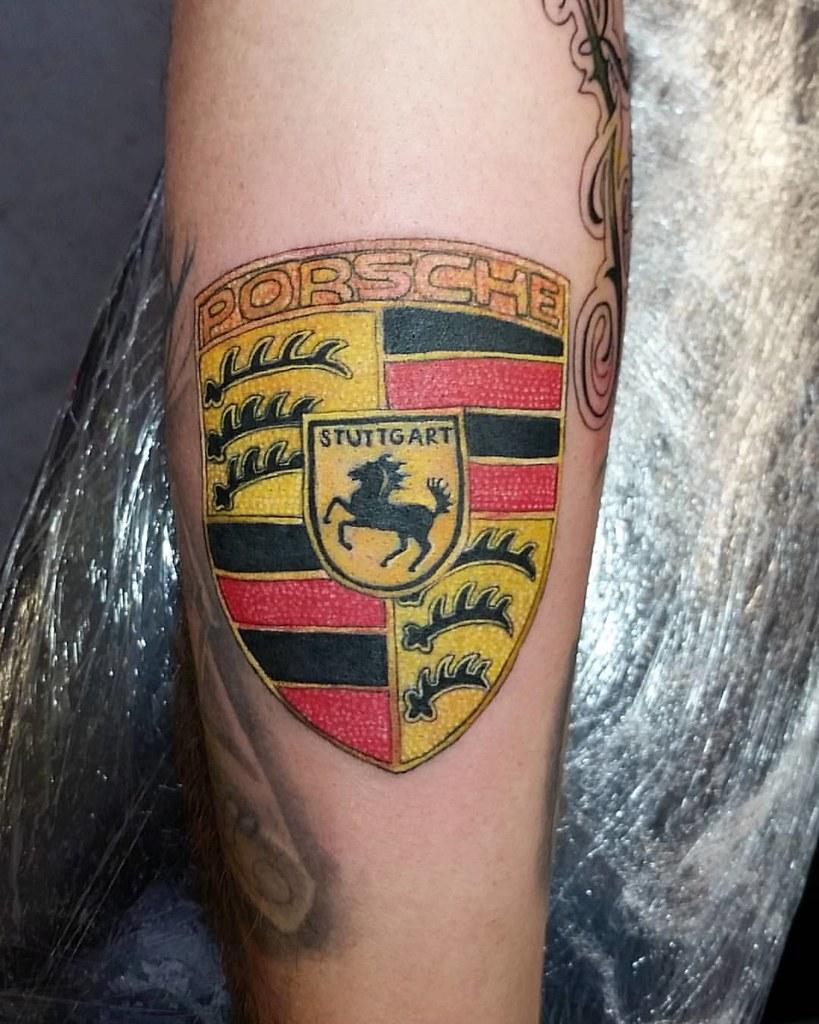 Porsche Logo Tattoo Done With Bishoprotary Tattoolife C