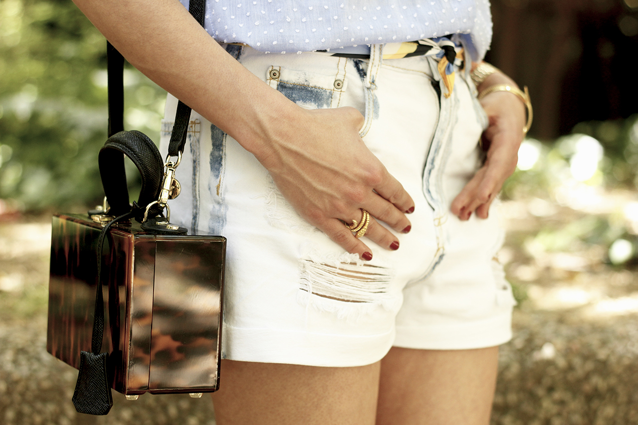 Denim Shorts Carey Bag uterqüe shirt with dots sunnies outfit style fashion14