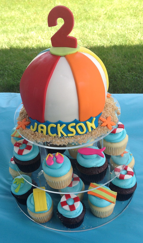 Pool Party Cake And Cupcakes Cakegirlkc Flickr