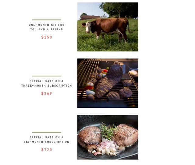 Butcher Box 提供給資助者的回饋品。圖片來源:Kickstarter網站。