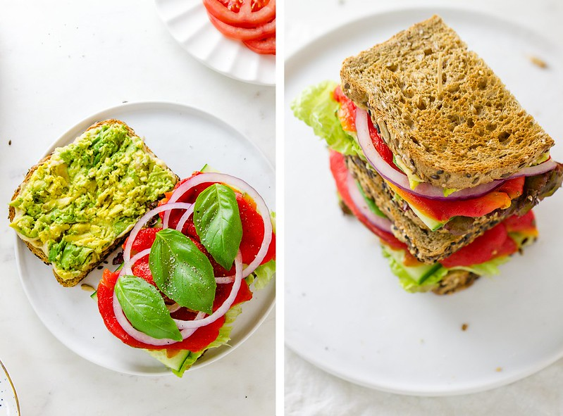 ROASTED RED PEPPER + HUMMUS SANDWICH