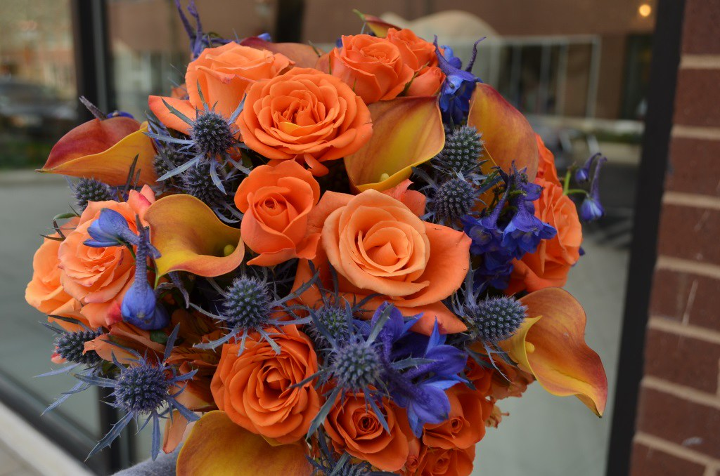 Orange and blue bridal bouquet | orange and blue bridal ...